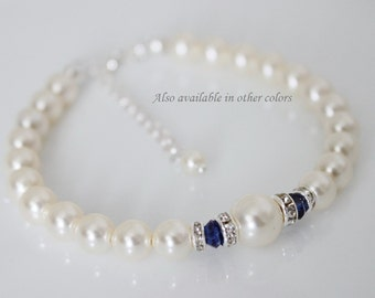 Dark Blue Bracelet, Bridesmaid Bracelet, Ivory Pearl and Navy Blue Bracelet, Swarovski Ivory Pearl Bracelet, Wedding Bracelet