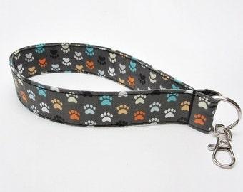 Paw print lanyard, dog wristlet, grey blue orange keychain, dog paw keychain, small lanyard, wrist lanyard, paw print key fob, key finder