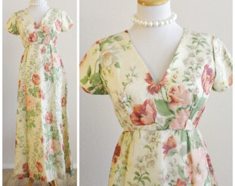 Vintage 60's 70's Emma Domb of California Luncheon Tea Party Floral Chiffon Maxi Long Dress
