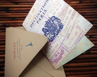 Wanderlust Travel themed party invitations, travel wedding, travel shower, travel party, passport invite, passport invitations for weddings