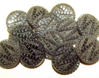 Antique Buttons ~ Victorian Black Glass Buttons ~ Black Glass Button Set of 12