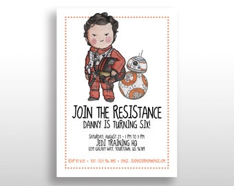 EDITABLE PRINTABLE Star Wars Boy Invitations Poe Dameron & BB-8, Birthday Party Invite Instant Download The Force Awakens The Last Jedi .pdf