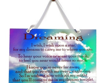 Angel Quote 'Dreaming' Handmade Home Sign 579