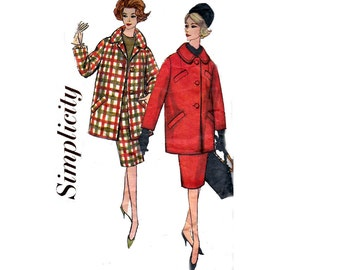 Simplicity 3622 Womens Skirt & Coat MOD 60s Vintage Sewing Pattern Size 16 Bust 36 inches