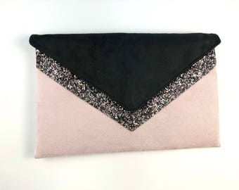 Grey suede and silver glitter and powder pink clutch bag with pink highlights - bridesmaid - bridal clutch