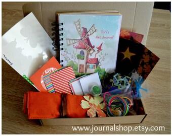 Personalized art journal kit for kids, children art kit, homeschooling, craft kit for children, journal diary, art gift for children