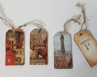Paris Themed Wooden Gift Tags (set of 4)