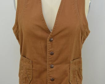 on sale Vintage RED SNAP Brown Vest unlined heavy cotton