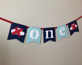 airplane birthday, one banner, first birthday, party decorations, cake smash, birthday banner, high chair, highchair, airplane party, plane