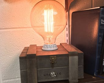 Cigar Box Lamp W/Edison Bulb