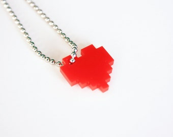 "Acrylic Pixel Heart Necklace, Geek Gamer Jewelry, ""I Love You in Pixels"" in Your Choice of Red, Blue, Black, White"