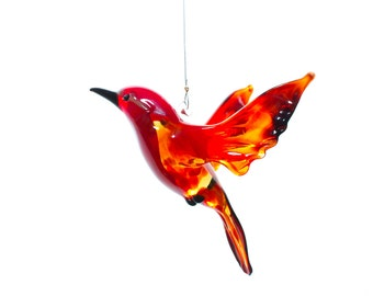 Cardinal Songbird Glass Ornament - Great for hanging off of bird houses or as a hummingbird feeder ornament - Window Ornament