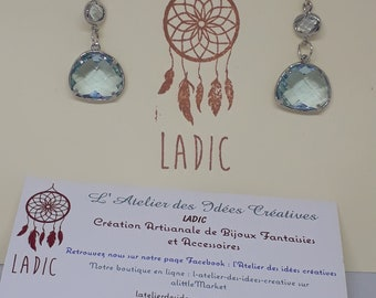 Earrings in 925 sterling silver and blue faceted glass