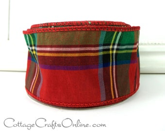 "Christmas Wired Ribbon, 2 1/2""  Red Green Faux Dupioni Tartan Plaid - TEN YARD Roll -  ""Highland"" Decor  Craft Wire Edged Ribbon"