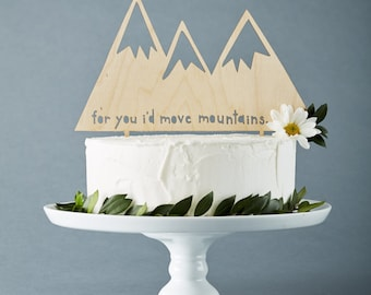 Custom Wedding Cake Topper - Mountains - Rustic Wooden Wedding Decor - Personalized Wedding Cake Topper - Lasercut Cake Topper