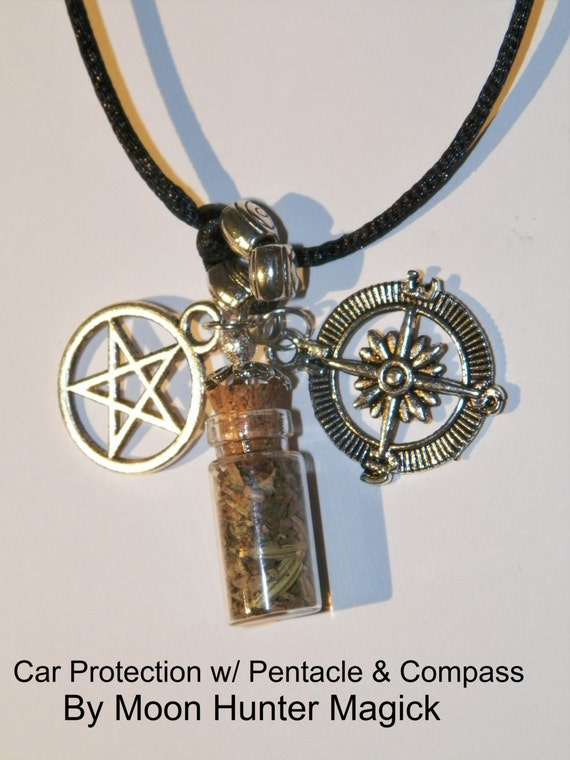 Car Protection Rear View Mirror Charm Bottle Amulet Pagan Wicca Reiki Ritual