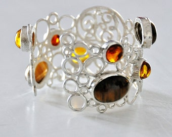 bracelet Silver and amber cabochon