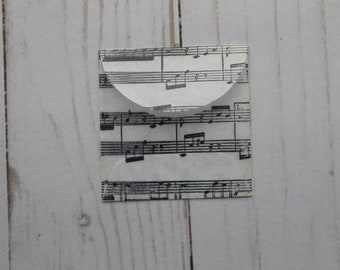 """10 Square Music Score/Note Stamped Glassine Envelopes with flap 2"""" x 2"""""""