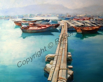 Original oil painting on canvas by Roger Pan, Lamma Island, 20x20inch
