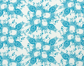 Linen Fabric By the yard Botanical Aqua on Ivory