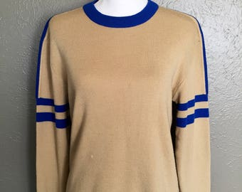 Retro Wool Blend Ski Sweater Size Large Tan and Blue Old School 70's