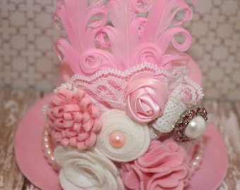 Victorian inspired pink mini top hat fascinator with wool felt flowers, pearls, lace and feathers Photo prop Tea Party
