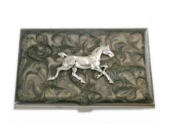 Morgan Horse Business Card Case Inlaid in Hand Painted Enamel Metal Card Case Thoroughbred Embellished on Smokey Design Personalized Options