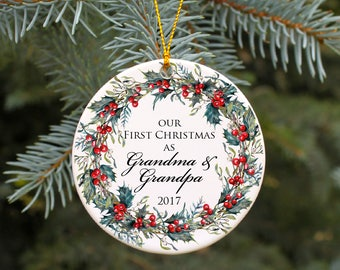 Our First Christmas as Grandma and Grandpa Pregnancy Announcement Ornament Grandma Christmas Gift First Christmas as Grandparents Custom