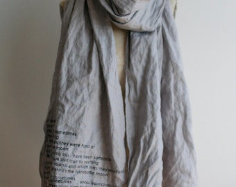 e.e. cummings gray linen scarf,  text poetry, shawls, gifts, women's fashion accessories