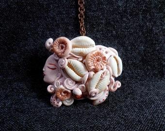 BIG Sea Goddess, Puka Shell Goddess, Puka Shell Necklace,Seashell goddess pendant, Puka Shell Necklace, Sea goddess jewelry, puka shell gift