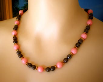 Necklace made with round Apricot Jade & round Chocolate Jasper Beads, 21 Inches long