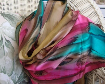 Scarf, Silk, Women, Hand Dyed, Island Sunrise Silk Scarf, Chestnut Hot Pink Seabreeze Havanis