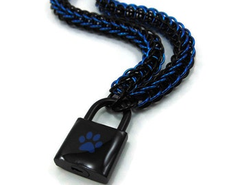 Unisex BDSM Slave Collar Black with Blue Paw Print Locking Chainmail Choker Pup Kitten Sub