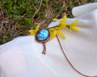 Labradorite Sky - pendant rainbow statement pendant big blue pendant handmade jewelry handmade pendant gift for bridesmaid wedding gift