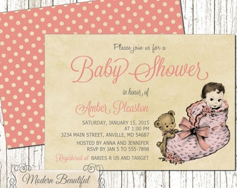 Girl Vintage Baby Shower invitation, pink vintage baby shower invitation, retro baby shower invitation, girl baby shower invitation