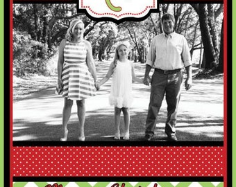 Red and Green Chevron and Polka Dot Photo Christmas Card