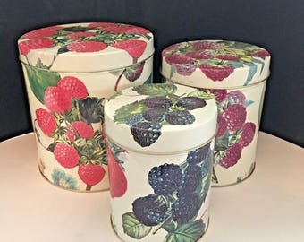 Vintage Berries Canisters, Made in Hong Kong Exclusively for Department 56, Set of 3