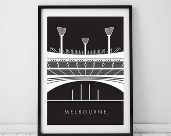 MCG, Melbourne, A4 Beautiful print, Australia, Iconic, Modern, Wall art, Digital, Room decor, Interior, Design, Unique, Art