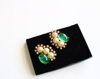 Signed Marvella  1960s  large Green Jade  Art Glass Earrings with Faux  pearls and clear  rhinestones