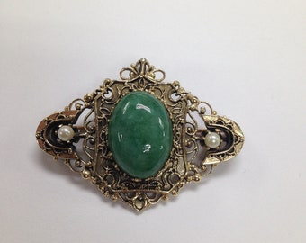 Vintage Jade Pin, Vintage Brooch, Art Deco Pin, Estate Jewelry, Jade and Pearls Vintage Pin
