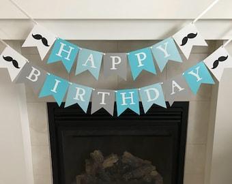 Moustache Birthday Banner, Little Man Birthday Banner, Happy Birthday Banner, Boy Party, Photo Prop, Boy Birthday, Flag Banner