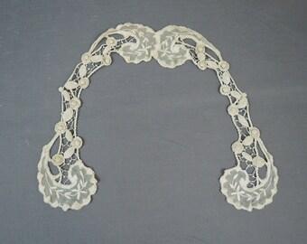 Vintage Floral Lace Trim Collar, Antique Victorian Edwardian Crochet & Tulle for Dress or Blouse