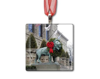 Art Institute Christmas - Handmade Glass Photo Ornament