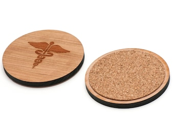 Caduceus Medical Symbol Wooden Coasters Set of 4, Gifts For Him, Wedding Gifts, Groomsman Gifts, and Personalized