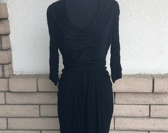 50s Bombshell Dress, Ruched Dress, Little Black Dress by Talmack of New York Size Small
