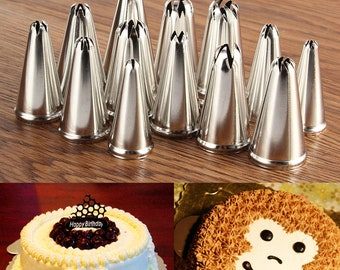 14pcs Russian Stainless Steel Icing Piping Nozzles Pastry Cake Tips Decor Tool - Icing Piping - Nozzles Pastry Cake Tips - Cake Decorating