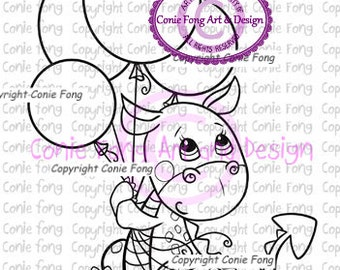 Digital Stamp, Digi Stamp, digistamp, Tori the Dragon- Up by Conie Fong, dragon, birthday, celebration, balloon, coloring page
