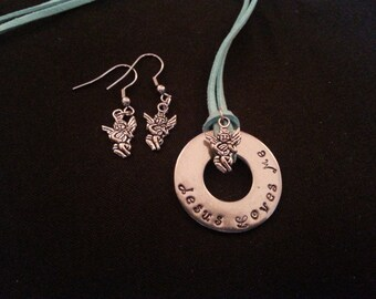 Jesus Loves Me necklace with matching angel earrings, stainless steel french hooks