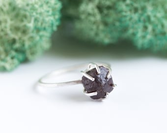 Silver ring with rough Garnet, raw stone ring