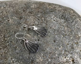 Oxidized sterling silver butterfly earrings, wing drop earrings, white sapphire and sterling silver earrings